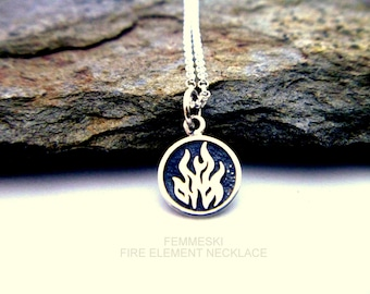 Fire Element Necklace - 925 Sterling Silver - Fire, Air, Water, Earth Charm Necklace - Elemental Jewelry - Four Elements Pendant