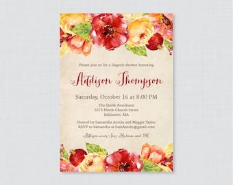 Fall Lingerie Shower Invitation Printable or Printed- Rustic Autumn Lingerie Shower Invites - Fall Flower Bachelorette Party Invites 0018