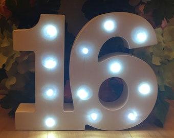 Wooden Light Up LED Number 16
