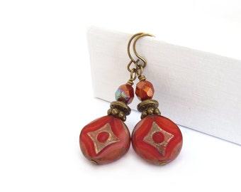 Red Orange Dangle Earrings - Czech Glass Disc Beads - Tomato Red Bohemian Drop Earrings - Boho Jewelry