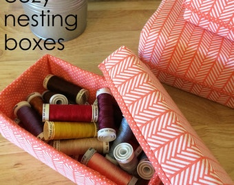 Sewing Pattern: Cozy Nesting Boxes, 6 sizes, digital, organization, storage boxes, nursery storage, sewing room, gift boxes, stacking box