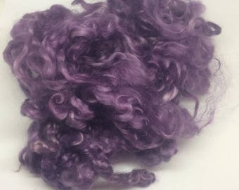 Blue Faced Leicester curls / locks, Hand dyed soft purple 10g