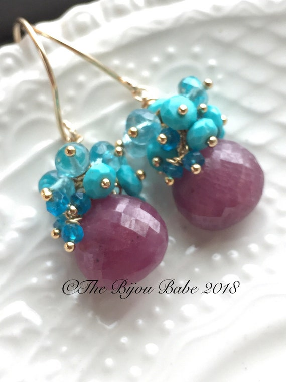 Pink Sapphire Cluster Earrings