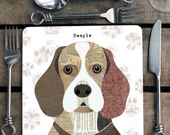 Beagle Dog Personalised Placemat/coaster
