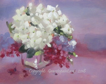 Hydrangea and Lilac...Original Oil Painting by Maresa Lilley, SND