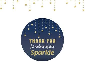 Twinkle Twinkle Little Star Gift thank you Tags,Twinkle Twinkle Little Star favor stickers,navy and gold Twinkle Twinkle Little  Star party