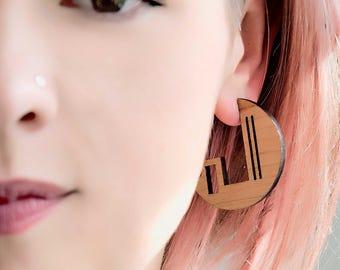 Geometric pattern, wooden, hoop earrings. Laser cut jewellery