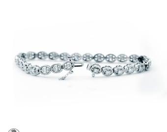 Tennis Bracelet, Diamond Tennis Bracelet With Gallery, Vintage Style White Gold Diamond Bracelet, antique Style Tennis Bracelet |BR01128