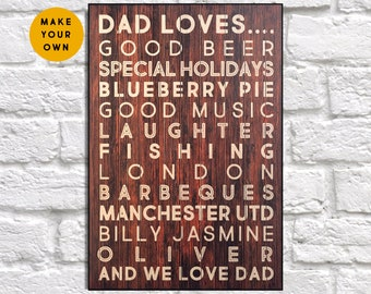 Custom gift for Fathers day gift from Son Wood sign Personalised gift for Father gift for Dad gift from Children panel effect wood plaque