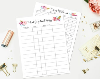 Printable Pinterest Planner Sheets