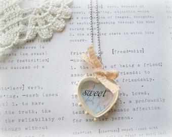 ON SALE Cream Loveheart Sweet Pendant Necklace