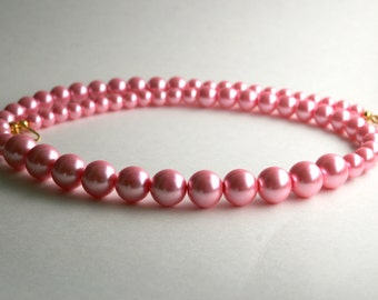Jewelry Gift Set, Rose Pink, Pearl Necklace and Bracelet Set, Pearl Anniversary, Classic Beauty, Lobster Claw Clasp