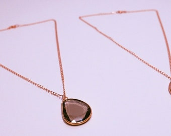 Gold plated Crystal chain necklace and rock crystal drop