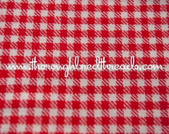 Red Gingham - Vintage Fabric Multi-Colored Preppy Wool Blend Christmas Holiday