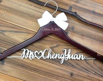 Bridal Hanger with Laser Cut Wood Name, Personalized Wedding Hanger with Date, Bridal Shower Gift, Custom Bride Hanger Gift for Bride MG004