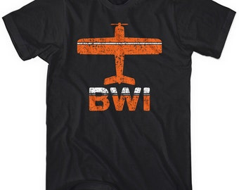 Fly Baltimore T-shirt - BWI Airport - Men and Unisex - XS S M L XL 2x 3x 4x - 3 Colors