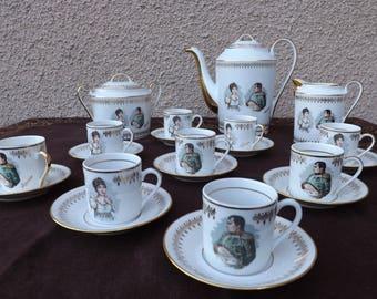 Serving a café of Napoleon and Josephine, luxury fine Limoges porcelain F.D Ajaccio (France)