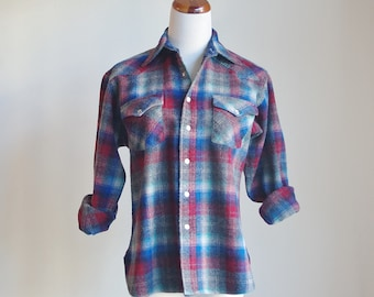 Vintage Pendleton Plaid Shirt, Wool Shirt, Wool Plaid Shirt, Snap Button Shirt, Western Shirt, Collared Shirt,  Medium