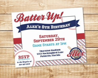 """PRINTED Little Slugger 4.25"""" x 5.5"""" Baseball Party Invitation with envelope in Red, Blues, and White"""