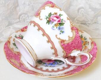 English floral tea cup  Royal Albert Lady Carlyle vintage teacup tea cups english teacup pink vintage teacup 544