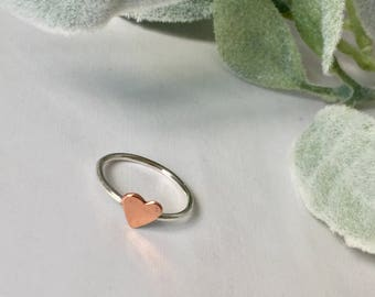 Sterling silver and copper heart Ring