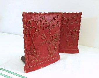 Red Syroco Chinoiserie Bookends