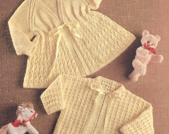 Download - Baby Knitting PATTERN  - Matinee coats/Jackets/Sweaters - 2 sizes