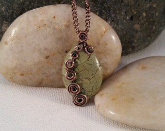 Wire Wrapped Chinese Turquoise Pendant Necklace, Copper. Olive green.