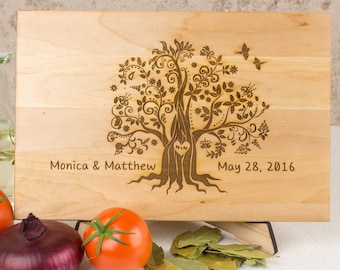 Couple Cutting Board Family Tree, Wedding Custom Cutting Board, Gift for wedding, Personalized wood Cutting Board Anniversary Gift Bridal