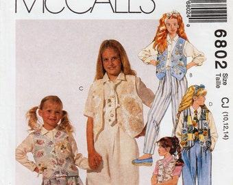 Girls Vest Pattern Girls Skirt Pattern Girls Pleated Pants Girls Necktie McCALLS 6802 UNCUT 2-3-4; 7-8-10; 10-12-14 Girls Shirt Pattern