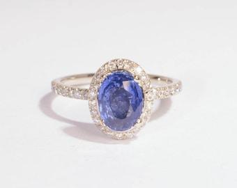 Handmade Royal blue sapphire, 1.45ct 14K white gold engagement diamonds halo ring sku-5025b JOAN