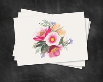FLORAL CARD SET of 10