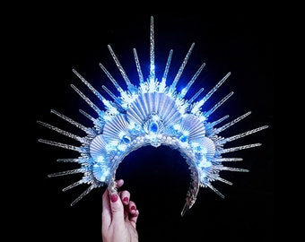 ARCTIC SIREN HALO - Mermaid Crown - Icequeen Tiara Headpiece - Festival Rave Headdress - Burning Man Accessory - Led - Glow in the Dark