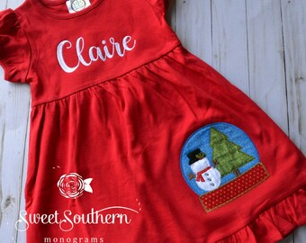 Christmas dress, winter dress, snowglobe, snowman dress, christmas snowman, dress, red dress, girl christmas dress, girl ruffle dress