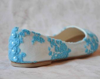 Wedding shoes lace wedding shoes blue wedding flats blue shoes something blue wedding shoes lace flats bridal shoes blue lace SIZE US 6