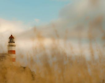 Lighthouse fine art photography, Sunset landscape wall art, Coastal wallpaper, Original work art signed and numbered, Blue sky and clouds