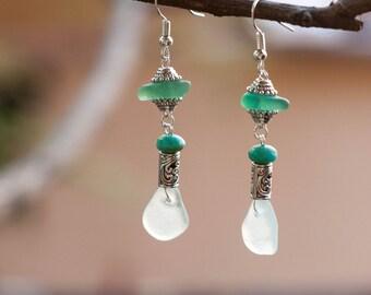 Light Modern Jewelry Beach Glass Earrings, Dangle Earrings, Sea glass earrings, sea glass jewelry, glass earrings, beach earrings