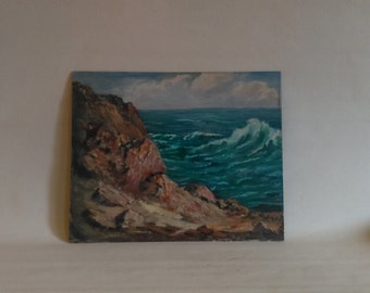 Vintage Seascape Oil Painting Signed