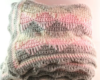 Vintage Hand Crocheted Afghan Throw. Pink, Grey & White Abstract Triangles/Diamonds and Scalloped Ends. Retro Coverlet. Nursery Decor.