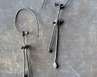 abstract earrings, sterling silver earrings, dangle earrings, statement earrings, riveted earrings, long silver earrings
