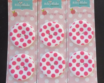 """Riley Blake Sew Together 1.5 """" Matte Round Dot Buttons - Hot Pink"""
