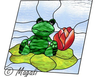 Frog stained glass pattern