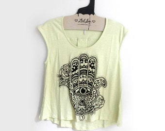 SALE Med -Seafoam Light Green Cap Sleeve Top with Hamsa Screen print