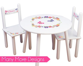 Girls Table \u0026 Chair Set Personalized Tea Party Table Chairs Kids Furniture Childs Table Personalized bedroom  sc 1 st  Etsy & Girls Princess Table \u0026 Chair Set Frozen Kids Furniture