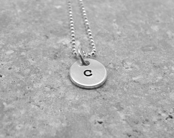 Tiny Initial Necklace, Letter c Pendant, Personalized Necklace, Hand Stamped Small Initial Pendant, Sterling Silver Jewelry, All Letters, c