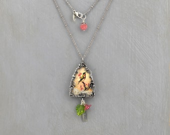 Soldered Pendant, Glass Shadow Box, Arched Glass Bird/Spring Pendant, Necklace