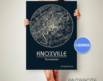 KNOXVILLE Tennessee CANVAS Map Knoxville Tennessee Poster City Map Knoxville Tennessee Art Print Knoxville Tennessee
