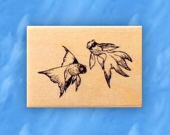GOLDFISH mounted fish rubber stamp, Japanese, koi, aquarium or pond fish, asian, oriental, Sweet Grass Stamps No.12