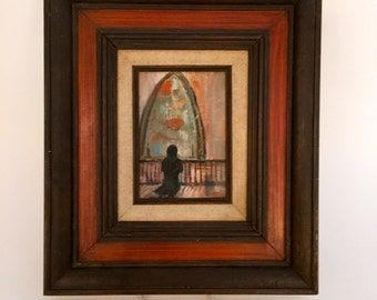 Vintage Folk Art Painting of Woman Praying Stained Glass Window Mourning Church