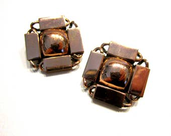 Vintage Renoir Copper Clip Earrings Geometric Clip On Earrings Signed Jewelry Vintage Gift for Her Collector Designer Jewelry
